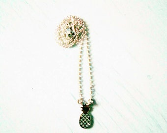 Summer necklace, pineapple and rhodium chain pendant / / gift for woman