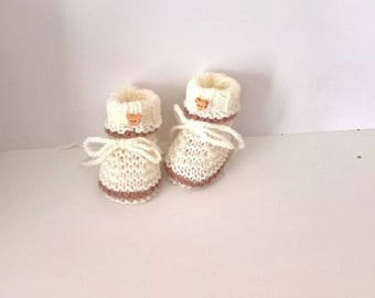 Mixed baby boy girl 0/1 month handknit ecru taupe wool bear
