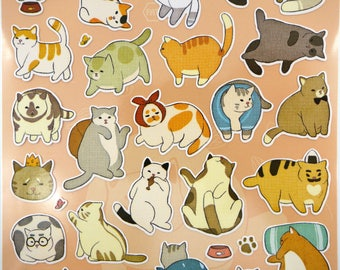 Japanese cat stickers! Chubby cats, mochi cat stickers, kawaii stickers, kawaii cats, cute planner stickers, fat cat, cat butt stickers