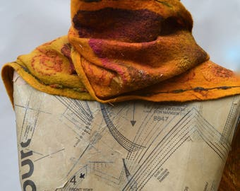 Nuno felted scarf in merino wool, handmade, surface embellishments, fringe edges, for her, fashion accessory, wearable art