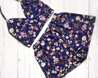 Handmade navy floral print bralet and high waisted shorts two piece / co ord. UK sizes 4-18 (US 0-14)