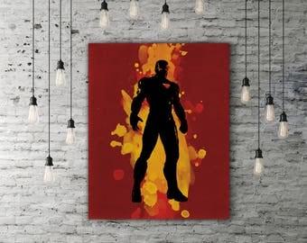 Iron Man Art Print, The Avengers Artwork, Movie Poster Vintage Superhero Silhouette Design, Marvel Comic Decor Ironman Gift Tony Stark Decor