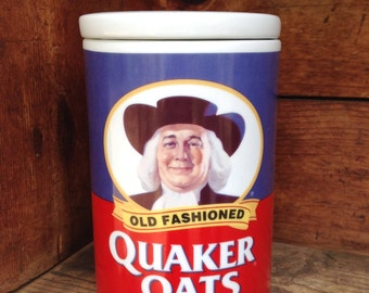 Quaker Oats 120th Anniversary Ceramic Canister, Red White and Blue Canister, Vintage Canister, Old Fashioned Quaker Oats, Cookie Jar, Quaker
