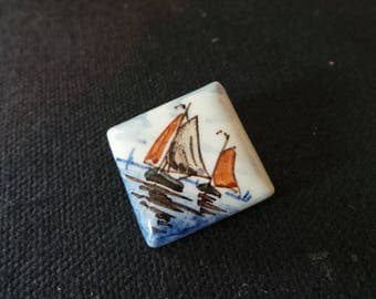Vintage Signed Holland Blue Delft Tile Sailboat Miniature Brooch Pin