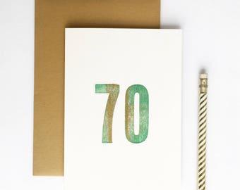 70th Birthday Letterpress Card