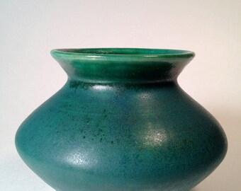 Oriental style jade green ceramic stoneware vase