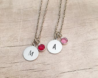 Birthstone Necklace for Women - Initial Necklace - Birthstone Necklace - Bridesmaid Gift from Bride - Birthstone Initial Necklace