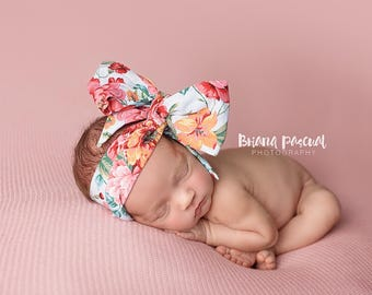 PINK PEONY Gorgeous Wrap- headwrap; fabric head wrap; floral head wrap; boho; newborn headband; baby headband; toddler headband