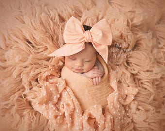 PEACH Gorgeous Wrap- headwrap; fabric head wrap; head wrap; boho; newborn headband; baby headband; toddler headband