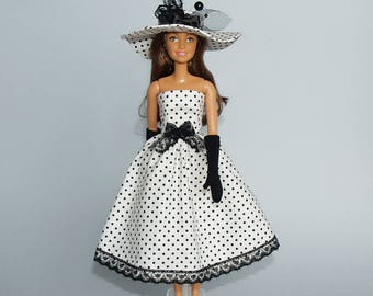 Barbie clothes - dress, gloves and hat - handmade