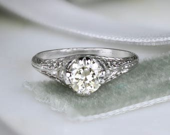 1920s edwardian filigree engagement ring 082ctw european cut diamond platinum milgrain - 1920s Wedding Rings