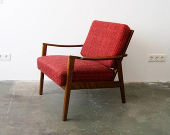 Sessel 60er, Armlehnsessel, mid century chair, armchair, 50er Sessel, bordeaux