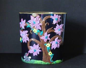 polymer clay rabbit,Spring Tree vase,Rabbit desk organizer,tiny bunny,polymer clay pencil holder,office worker gift,desk organizer
