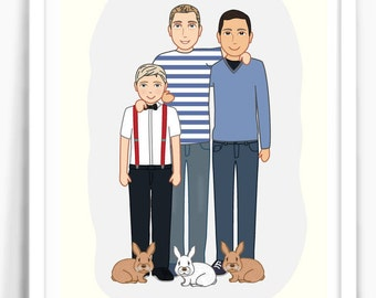 College dating gay parents cartoon family portrait