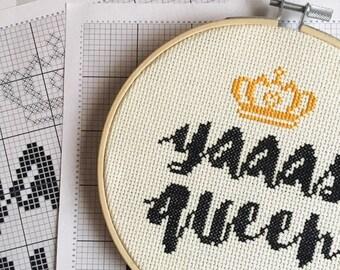 Yaaas Queen Cross Stitch Kit, Beginner Cross Stitch Kit, Broad City, Broad City Cross Stitch, Craft Kit, DIY Kit, Beginners Cross Stitch Kit
