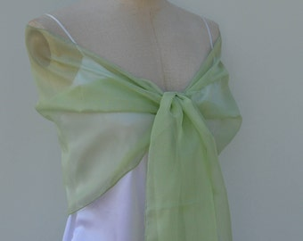 Stole organza green light, stole organza vertetole wedding, bride chic, elegant stole, shawl woman shawl, organza, bride, wedding woman