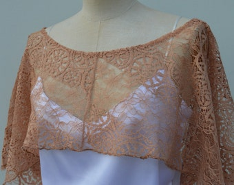 Cape, lace, wedding chocolate lace cover-up women taupe color, woman poncho cape