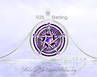 PURPLE WICCAN PENTAGRAM Necklace Wiccan Pentagram Pendant Wiccan Jewelry Pagan Necklace Religion Wiccan Jewelry Pentagram Pendant Pentacle