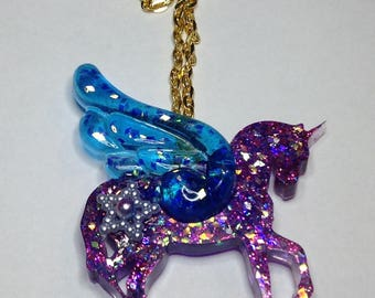 Sparkling purple and blue Pegasus UV resin pendant necklace