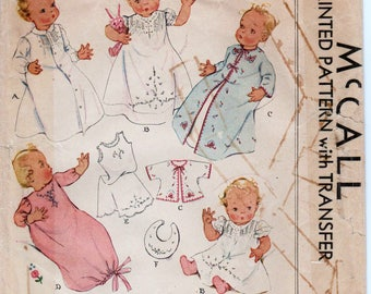1930s Vintage Layette Pattern Heirloom Baby Dress Christening Gown McCALL 537 Vintage Baby Pattern Baptism Dress Embroidered Bib Pattern