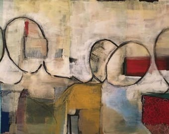 Figures, abstract ORIGINAL Painting, 30 x 70, on canvas, modern art, acrylic painting, bodies, faceless portraits