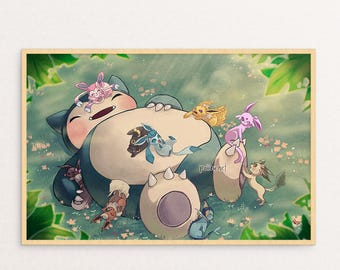 Snorlax & Eeveelutions Nap | Pokemon |Wall Art| Poster | Print | Anime