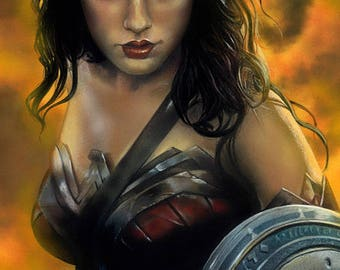 "Wonder Woman Painting - 11"" x 17"" Print"