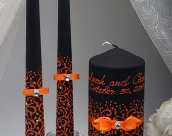 Halloween wedding etsy halloween weddings wedding unity candle set for halloween wedding junglespirit Image collections