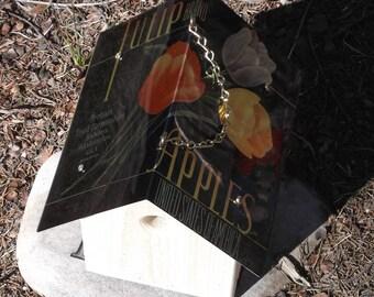 Tulip image birdhouse aluminum roof wren box apples fruit label