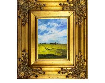 Framed Landscape Framed Painting Impressionist Painting Impressionist Art Framed Oil Painting Miniature Painting Flower field art