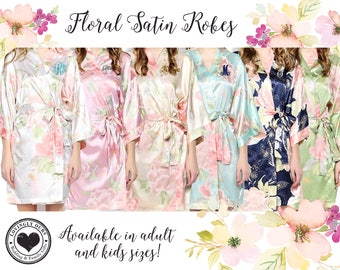 Bridesmaid Gifts, Bridesmaid Robes, Floral Satin Robes Embroidered with Monogram, Name or Initial for the Bridal Party - Wedding Gift