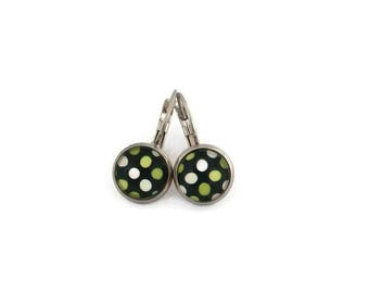 Stud Earrings, glass - stem stainless steel - glass 8 mm - Green earring - polka dots - hypoallergenic / Jewelry earrings