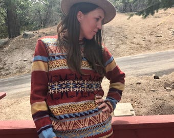 1970s hand loomed wool sweater made in England
