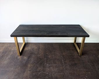 Elegant Reclaimed Wood Ebony With Gold U Leg Coffee Table Metal Glam Rustic