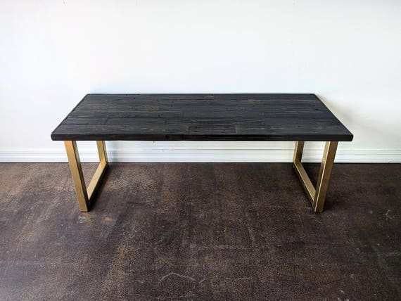reclaimed wood ebony with gold u leg coffee table metal glam. Black Bedroom Furniture Sets. Home Design Ideas