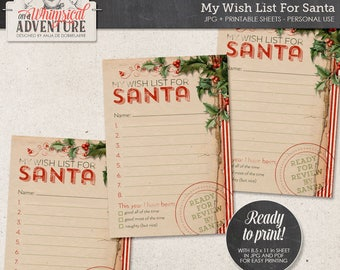 Wish List For Santa Printable, Instant Download, Digital Collage Sheet, Christmas Gifts For, Make A Wish, Holiday Gifts, Shopping List