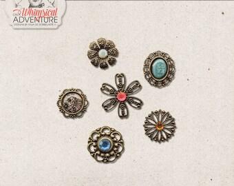 Vintage Gems, Boho Charms, Trinkets, Digital Download, Jewelry, Commercial Use OK, Digital Scrapbooking Embellishments, Bronze, Blue, Red