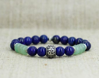 Green aventurine bracelet Lapis lazuli jewelry Zodiac jewelry Cancer bracelet Cancer jewelry Zodiac bracelet Cancer gift men gift for sister