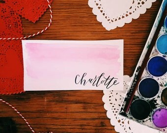Custom Handlettered Calligraphy Valentine's Placecards