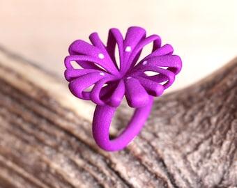 Purple Flower Ring, purple Statement Ring, women ring pink, large purple jewelry, pink fashion ring, modern art ring, large ring big