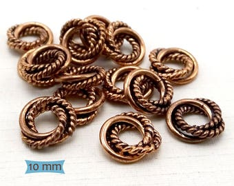 Solid Copper Twisted Wire Big Hole Spacers-10 Pcs.   42-110C-10