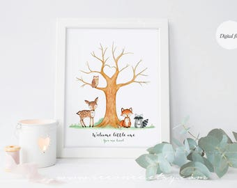 INSTANT DOWNLOAD Woodland Animals Fingerprint Guestbook Thumbprint Guest Book Printable Digital File DIY