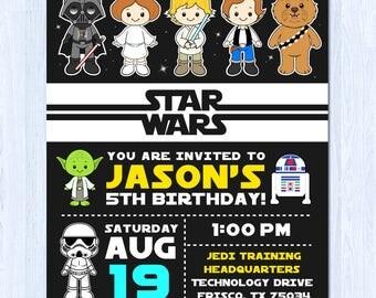 Star Wars Einladung, Star Wars Geburtstagseinladung, Die Kraft Wecken  Einladung, Star Wars
