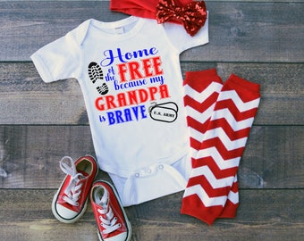 U.S. Army Home of the Free because my Grandpa Is Brave Baby Shower Idea Girl Boy Toddler Clothes Romper Shirt Tee Coming Home Veterans Day