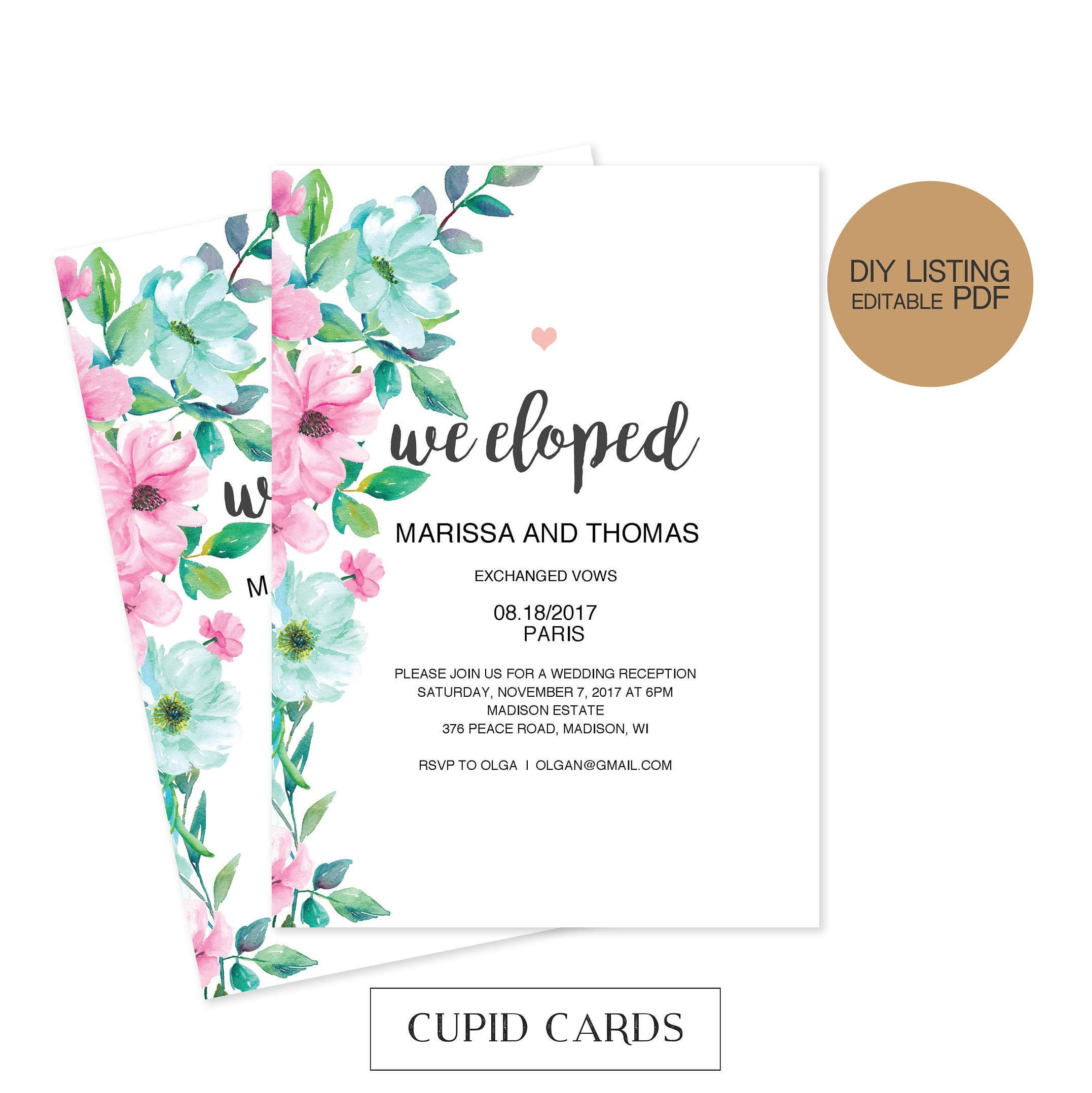 Watercolor Mint Pink Elopement Invitation Elopement Announcement