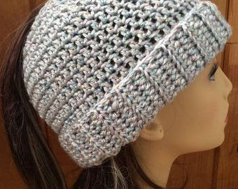 Messy Bun Ponytail Hat - Light Silver Grey with Iridescent Sparkle