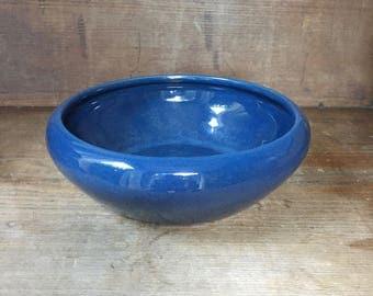 "Vintage Original Bauer Pottery Low Art Bowl Monterey Blue High Glaze 9 1/4"" x 3"""
