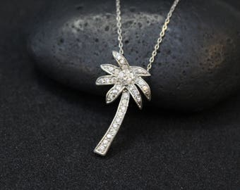 Sterling Silver CZ Palm Tree Necklace, Sterling Palm Tree, Silver Palm Tree, Palm Tree Jewelry, Sterling Silver Tropical Necklace