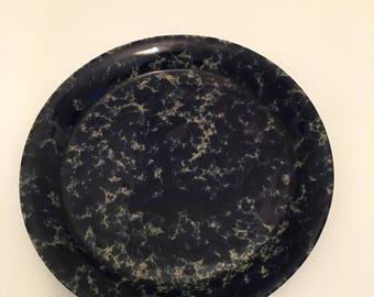 "Vintage Bennington Pottery Blue Agate Dinner Plate, 10.5"" Dinner Plates, 5 Available, Bennington Potters Vermont Plate, Blue Spongeware"