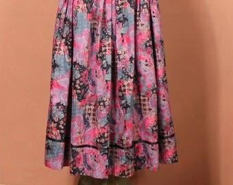 Vintage 90s Skirt Dirndl German Country Hippie Folk Steampunk Floral Midi UK 12...US 8